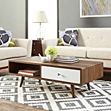 Modway Transmit Mid-Century Coffee Table, Walnut White