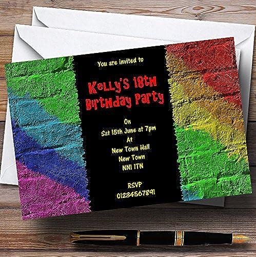 bajo precio Rainbow Rainbow Rainbow Graffiti parojo personalizado invitaciones de fiesta  promociones de equipo