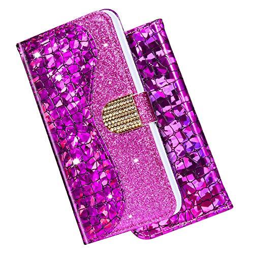Robinsoni Kompatibel mit iPhone 6 / iPhone 6S Hülle Leder Tasche Klapphülle Handytasche,Bling Glänzend Glitzer Diamant Handy Hüllen Bookstyle Brieftasche Flip Case Schale mit Magnetverschluss,Lila