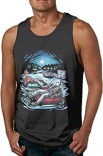 Warshland Men's Fashion Freddy Krueger & Jason On Pool Floaties Sleeveless T Shirts Sport Gym Tank Top