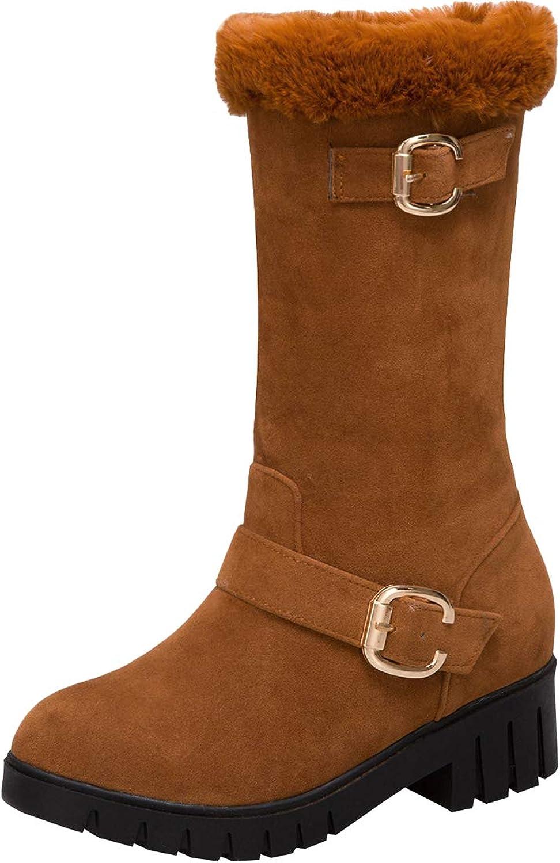 Artfaerie Womens Block Low Heel Mid Calf Snow Boots Faux Fur Warm Heel Boots