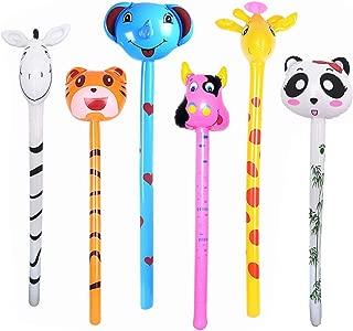 kockuu 6 PCS Inflatable Jungle Animals Stick with Sound - Tiger Zebra Giraffe Elephant Panda Cow - Party Noisemaker Birthday Party Favors Safari Party Decorations