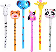 kockuu 6 PCS Inflatable Jungle Animals Stick with Sound - Tiger Zebra Giraffe Elephant Panda Cow - Party Noisemaker Birthday Party Favors Safari Party Decorations