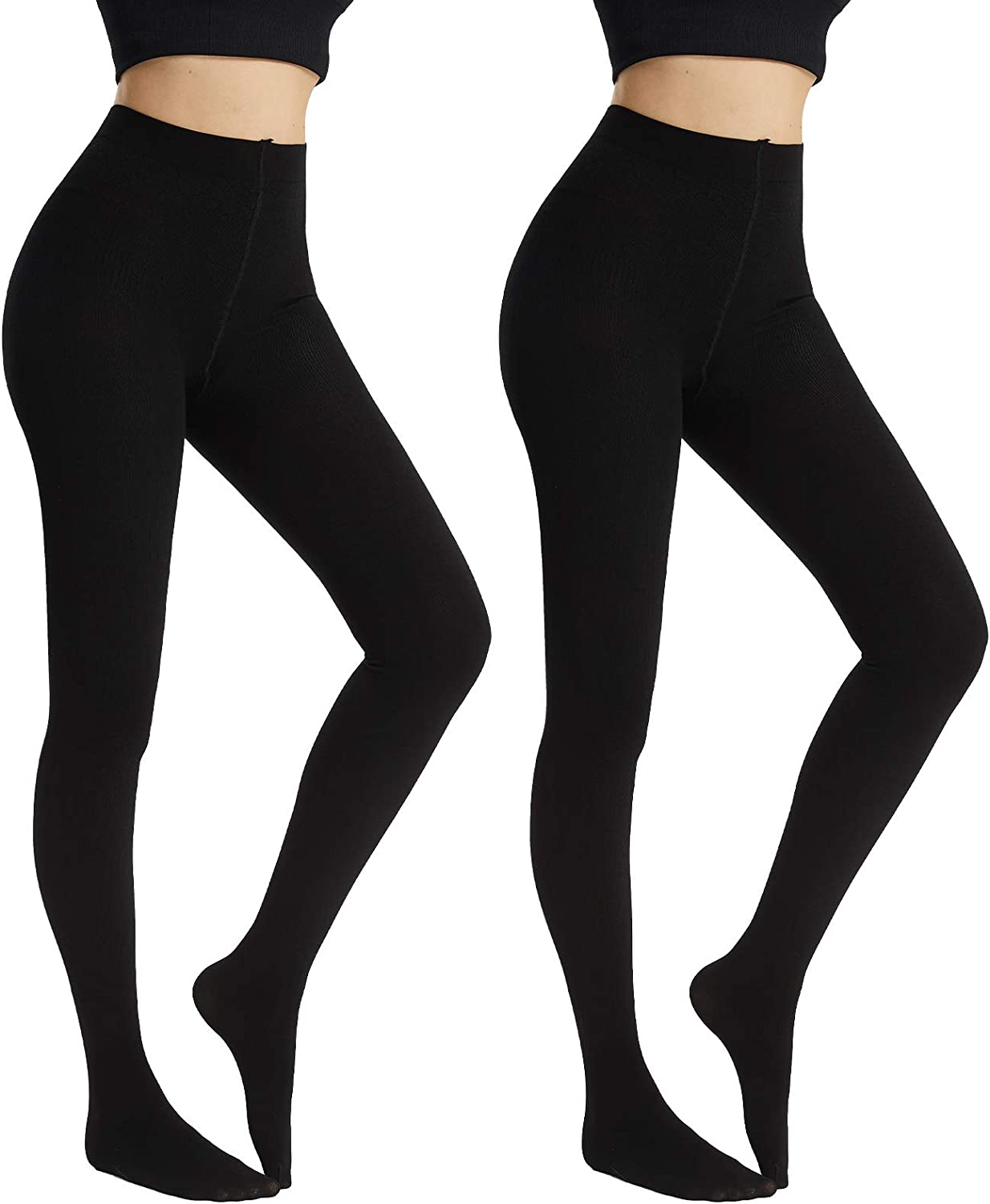 MANZI Modal Pantyhose Thick Winter Thermal Tights for Women 2 Pairs