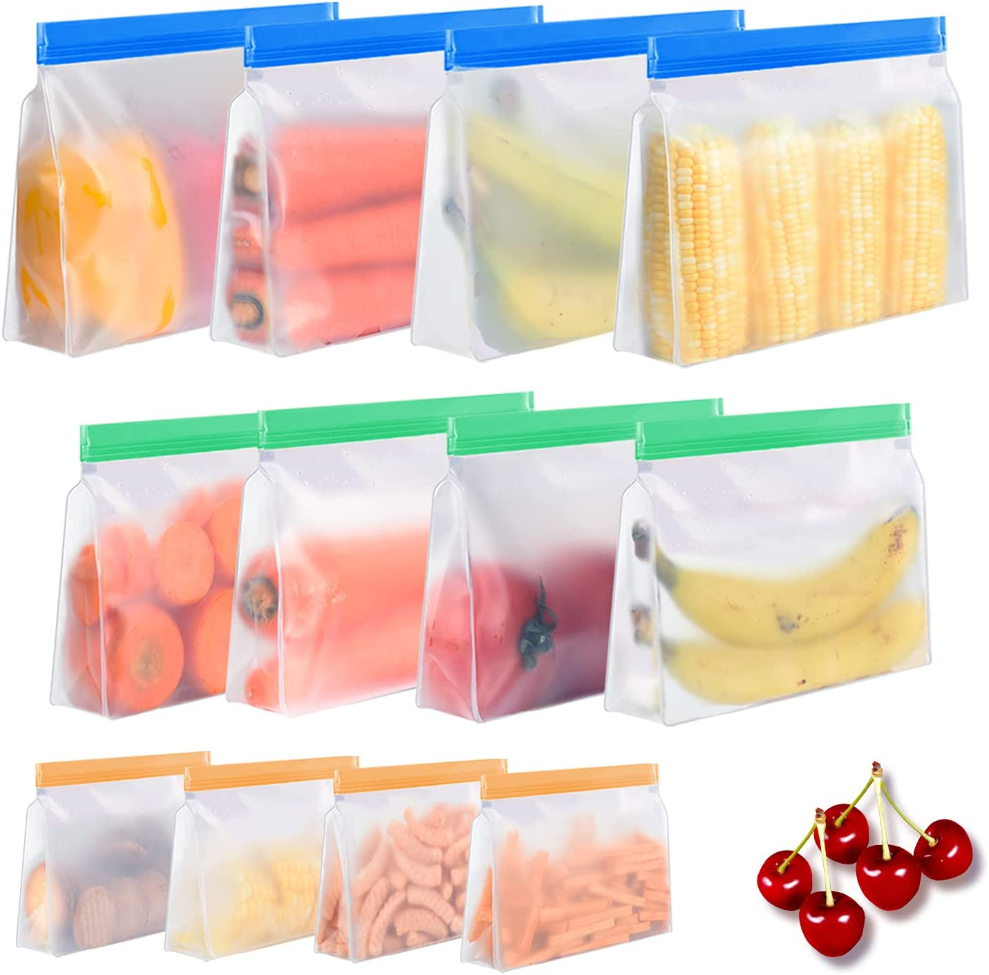 Reusable Food Storage Bags 12 Pack - Stand Up Food Grade Leakproof Freezer Bags, 4 Reusable Gallon Bags + 4 Reusable Sandwich Bags + 4 Reusable Snack Bags, BPA-Free Lunch Bags for Meat Fruit Cereal Veggies Fridge Storage Home Organization