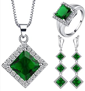 VPbao Rhombus Crystal Necklace Earrings Ring Cubic Zirconia Jewellery Set Green