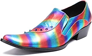 Rui Landed Oxford For Man Formal Shoes Slip On Style High Quality OX Leather Fashionable Low Top Embossed Rainbow Color Rivet Decor Pointed Toe (Color : Pink, Size : G-38)