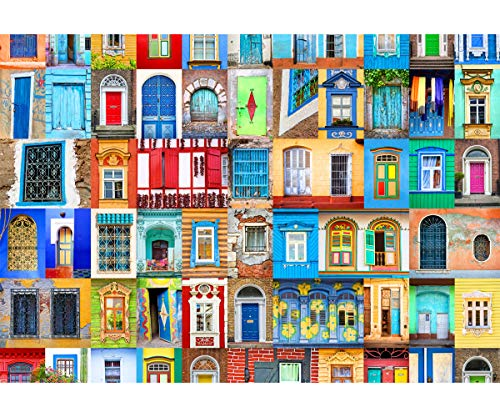 Jigsaw Puzzles 1000 Pieces for Adults Doors and Windows of World Jigsaw Puzzles Challenging Puzzle Large Difficult Puzzles DIY Entertainment Toys Gift for Home Decor 30 x 20 Inch/28 x 20 Inch