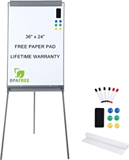 Magnetic Flip Chart Whiteboard Easel - 36 x 24 Inches Tripod Dry Erase White Board with Stand Height Adjustable by TSJ Office