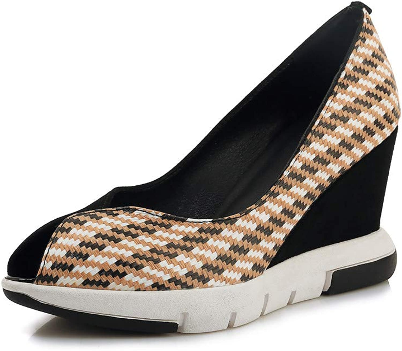 Nine Seven Suede Leather Women's Pointed Toe High Wedge Heel Fashion Slip On Handmade Classic Comfort Multicolour Women Fahion Platform Pumps
