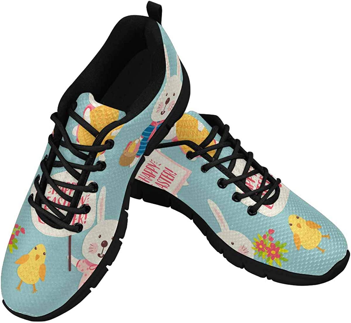 INTERESTPRINT Happy Easter Women's Breathable Non Slip Sneakers