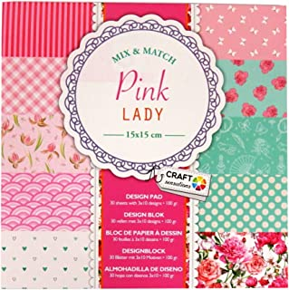 Craft Sensations Paper Printed Design Pad, Pink Lady, 30 Sheets, 10 Designs