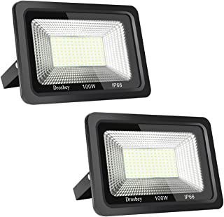Drosbey 100W LED Flood Light, Outdoor Work Light, IP66 Waterproof, Super Bright 10000LM, 5000K Daylight White, 500W Halogen Bulb Equivalent, Spotlight for Yard, Shop, Garage, Garden, Lawn, 2 Pack