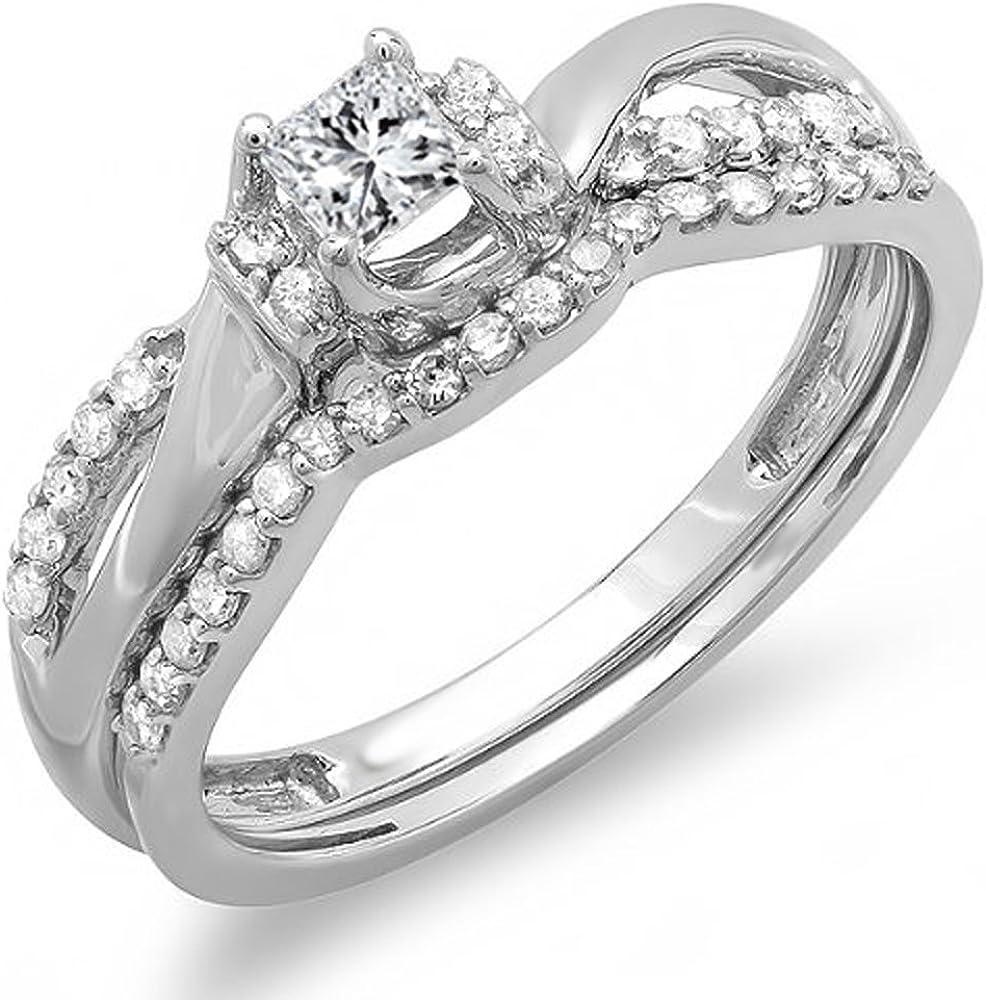 Dazzlingrock Collection 0.40 Carat (ctw) 10k Princess & Round Diamond Ladies Bridal Swirl Wave Ring Matching Band Set, White Gold