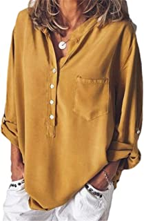 Mogogo Women's V-Neck Tops Pure Color Baggy Style Long-Sleeve T-Shirts