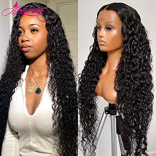 MONSTER LINK 30 32 34Inch 13x4 Deep Wave Lace Front Human Hair Wigs 5x5 HD Transparent Lace Frontal Wigs Curly Water Wave Wig for Black Women