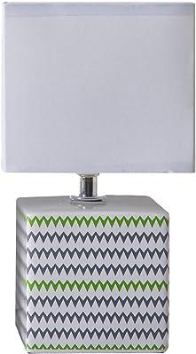 Lampada da comodino Caroline, lampada decorativa in ceramica, 40 W, grigio/verde, L 11 x H 22 cm