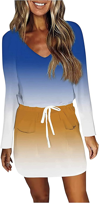 Women's Bodycon Dress Slim Fit Long Sleeve V Neck Vintage Tie Dye Drawstring Tunic T Shirt Mini Dresses with Pockets