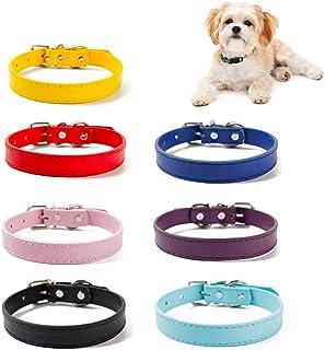HUI JIN Lot de 7 colliers réglables en cuir PU pour chiens de petite et moyenne taille