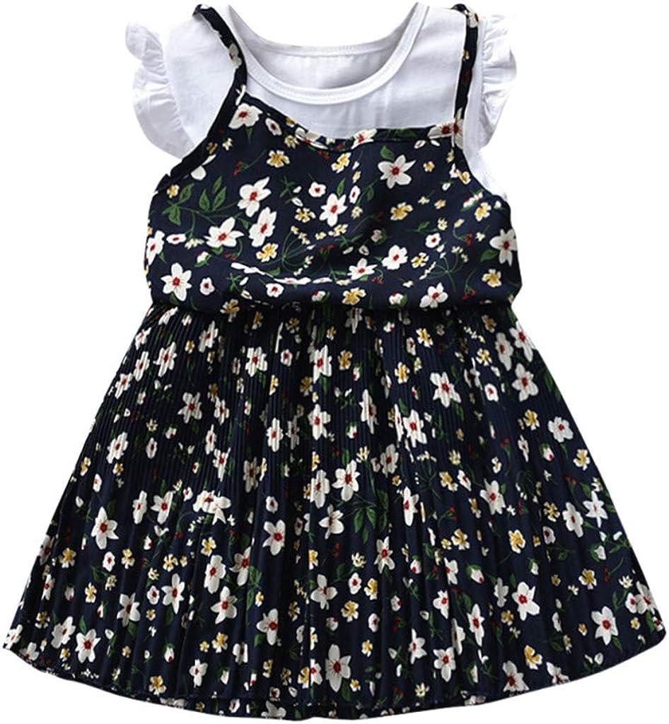 Toddler Kids Beach Casual Dress Sundress Print Ruffle Sleeveless Dresses Outfits Clothes Memela