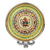 IndoTribe Large 4 Pc Meenakari Pooja Thali Pooja Thali Karva Chauth Set Diwali Decorations Diwali Gifts Indian Decor Decorative Plates Puja Items Thali Set
