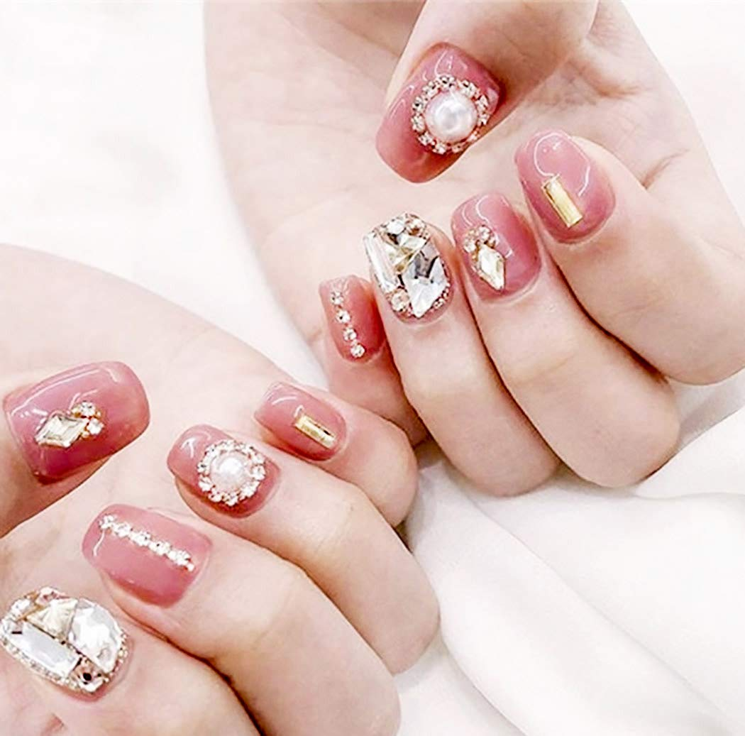Drecode Pink Detroit Mall Glossy Fake Popular overseas Nails Crystal Bridal Bling Rhinestones