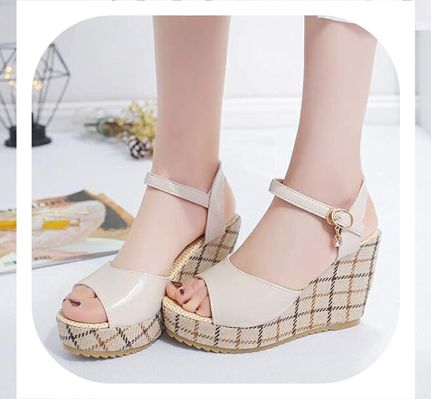 HANBINGPO Women Sandals 2019 Summer Pu Leather Gladiator Wedges Slides Peep Toe Gingham Solid Casual shoes