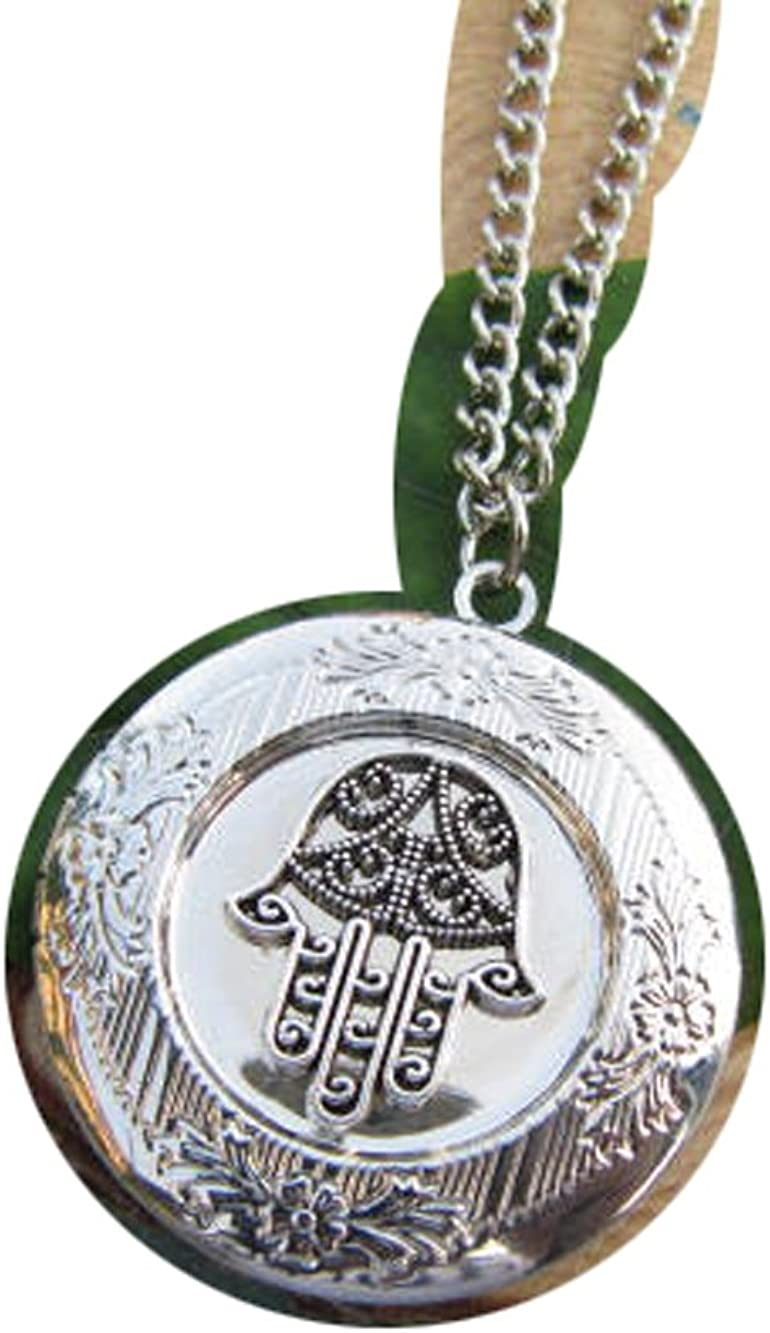 2Pcs Small Hamsa Locket Necklace,Hand of Fatima, Locket Necklace, Hamsa Charm Locket