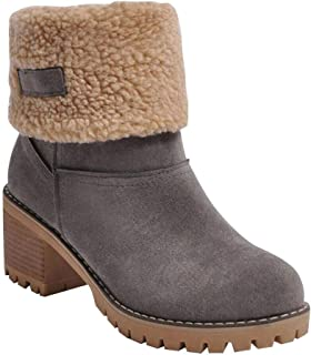Hzjundasi Warm Ankle Boots for Women Ladies Plus Lining Snow Boots with Block Heel Fashion Autumn Winter Booties Casual Outdoor Shoes
