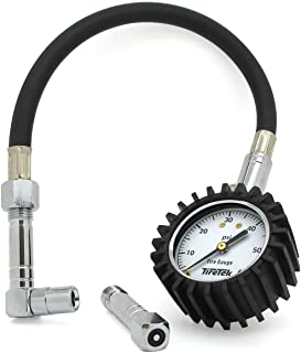 TireTek Flexi-Pro Tire Pressure Gauge, Heavy Duty Car & Motorcycle - 60 PSI (Right Angle & Straight Chucks)