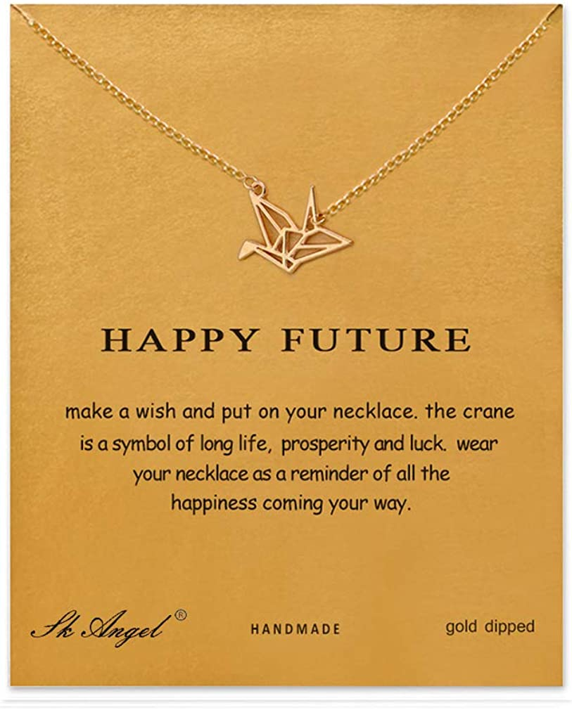 Sun Y Necklace Friendship Anchor Unicorn Good Luck Elephant Pendant Chain Necklace with Meaning Card Gift Card