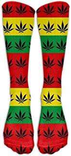 Hunter qiang, Rasta Weed Cannabis - Calcetines largos unisex hasta la rodilla para deporte, atlético y crema, largo: 50 cm