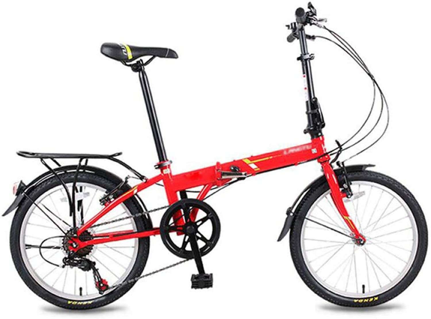 AOHMG Folding Bike Lightweight, 6Speed Adult City Foldable Bike with Comfort Saddle,Red_20in