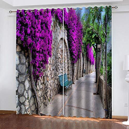 LUOWAN Dormitorio Moderno Ventana Cortina Vista de la calle Purple Flower Vine Total size:92' wide x 72' drop (234cm x 183cm) Cortinas Salón Opacas AislantesTérmicas Frío y Calor con Ojales para Balco