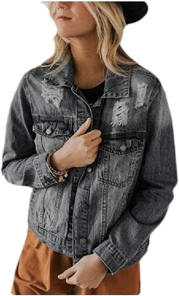 Women's Long Sleeve Destroyed Button Down Lounge Pocket Jean Jacket