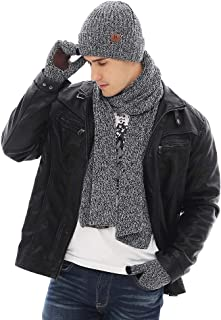 JTJFIT 3PCS In 1 Winter Warm Thick Knit Beanie Hat + Long Scarf + Non-Slip Touchscreen Driving Gloves Gift Set for Men