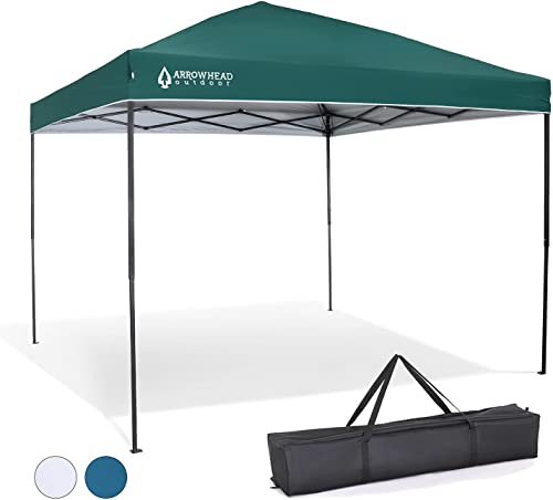 popular ARROWHEAD OUTDOOR 10'x10' Pop-Up Canopy & Instant Shelter, Easy One lowest Person Setup, Water & UV Resistant 150D Fabric Construction, Height Adjustable, Carry lowest Case, Guide Ropes & Stakes Included, USA-Based outlet online sale