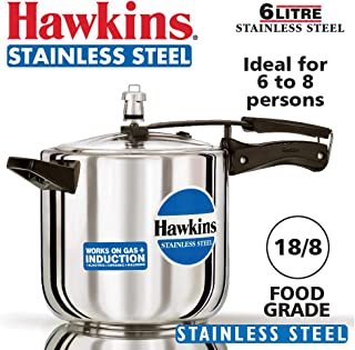 Hawkins B65 Pressure Cooker, 6 L, Silver
