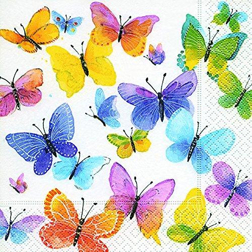 20 Servietten Überall bunte Schmetterlinge / Frühling / Sommer / Tiere 33x33cm