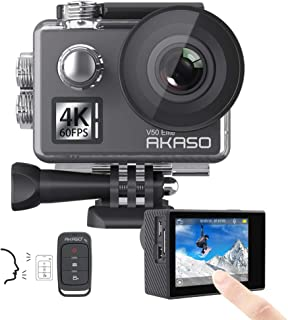 AKASO V50 Elite 4K60fps Touch Screen WiFi Action Camera Voice Control EIS 131 feet Waterproof Camera Adjustable View Angle 8X Zoom Remote Control Sports Camera with Helmet Accessories Kit
