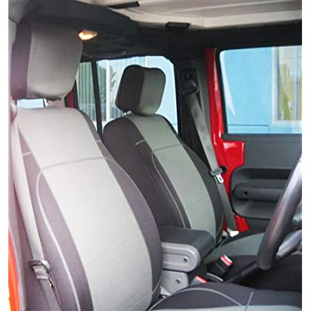 GEARFLAG Neoprene Seat Cover Custom fits Wrangler JK 2007-17 Unlimited 4 Door Full Set with Side airbag Opening Red//Black Front + Rear Seats