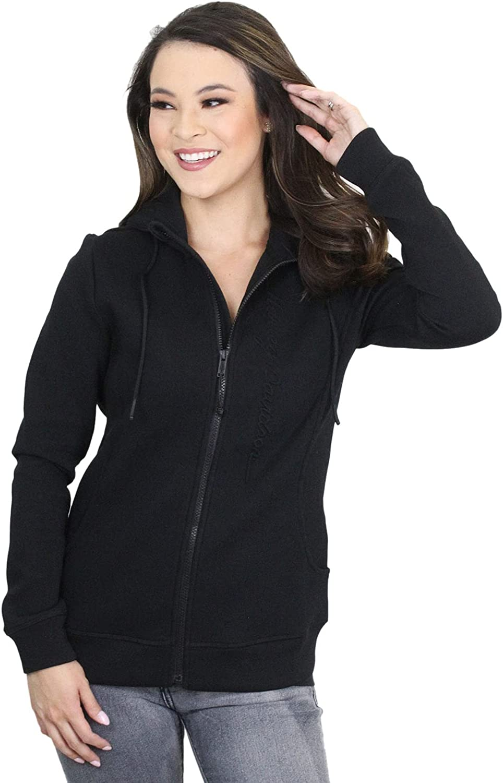 Harley-Davidson Womens Embossed H-D Name Full Zip Black Long Sleeve Hoodie 99063-20VW MEDIUM