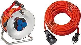 Brennenstuhl Garant S IP44 Kabeltrommel (40m Kabel in orange, Stahlblech) & Bremaxx Verlängerungskabel (20m Kabel, für den kurzfristigen Einsatz, einsetzbar bis  35°C, öl  und UV beständig) rot