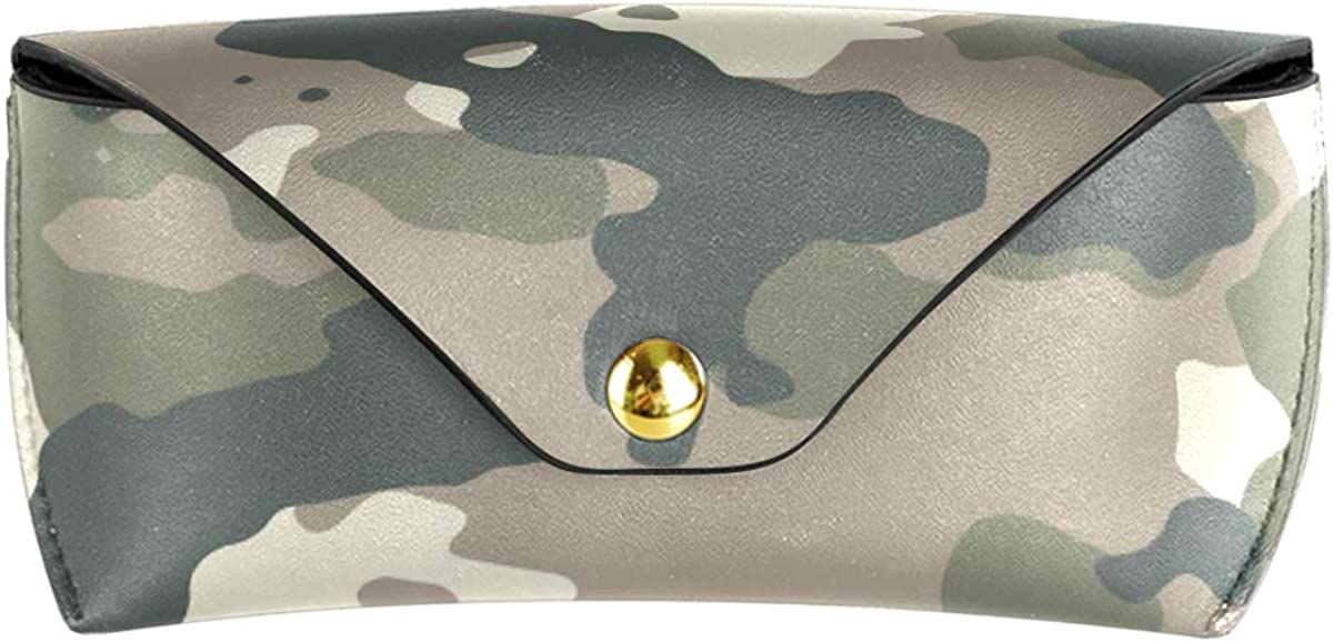 Sunglasses Case Eyeglasses Pouch Goggles Bag Portable Multiuse Cute PU Leather Simple Camo Art