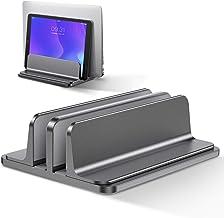 Bewahly Dubbel vertikal laptop-stativhållare, dubbel bärbar datorhållare, aluminium platsbesparande laptophållare kompatib...