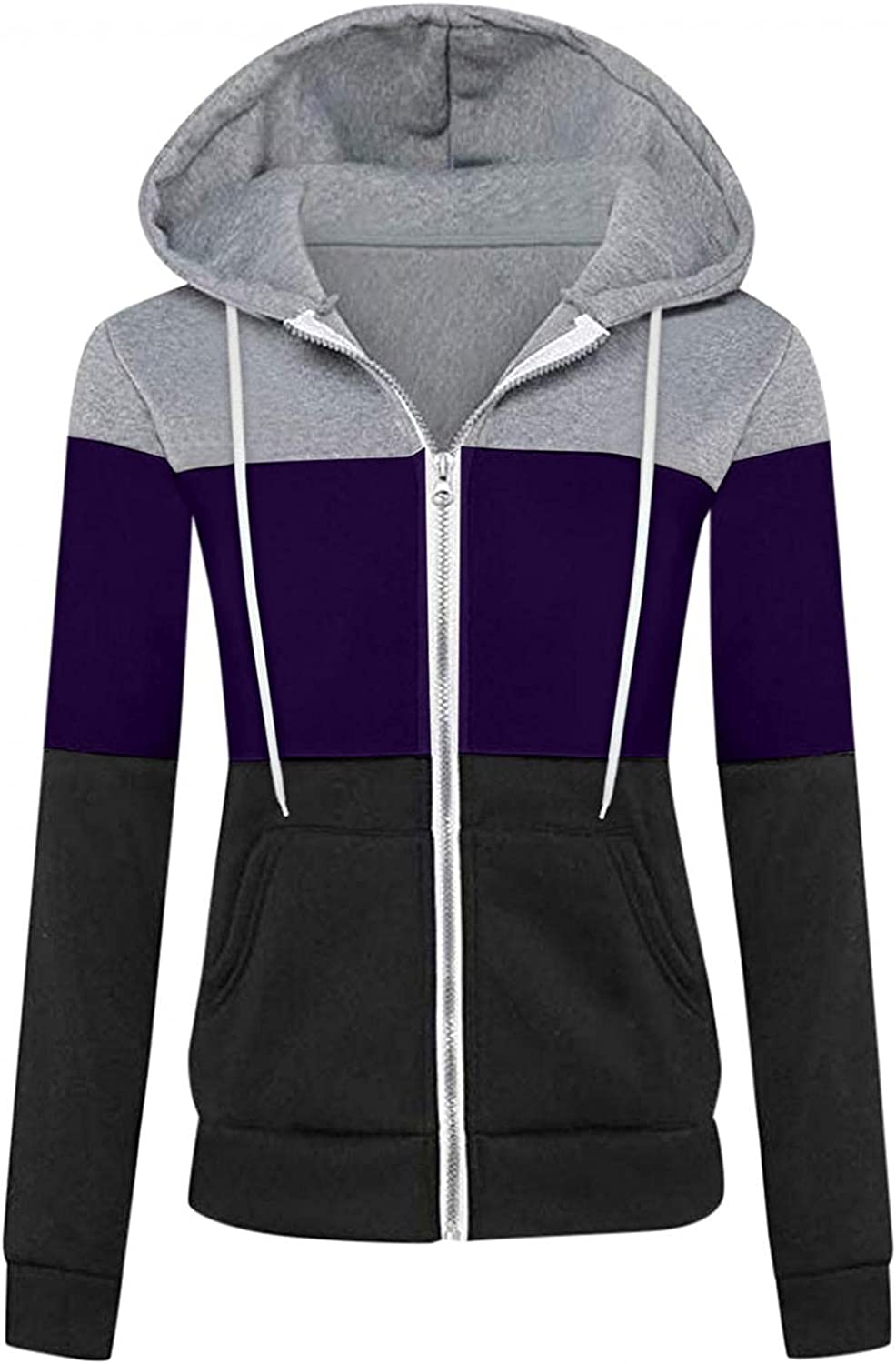 TAYBAGH Hoodies for Womens Casual Zip Up Loose Sport Pullover Sweatshirts Drawstring Long Sleeve Tops Blouse with Pocket