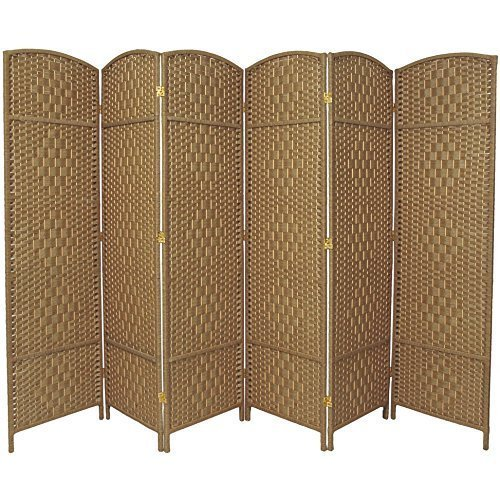 RHF 6 ft. Tall-Extra Wide-Diamond Weave Fiber Room Divider,Double Hinged,6 Panel Room...