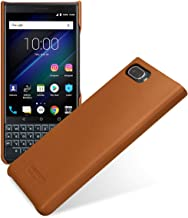 TETDED Premium Genuine Leather Case for BlackBerry KEY2 LE, Snap Cover, Caen (Nappa Brown)