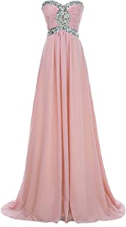 Women Prom Party Dress Floor-Length Strapless Chiffon Bridesmaid Gown