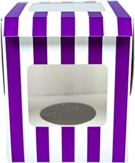 LuxGoods Holiday Cup Cake Boxes With Insert 12 Count With Window Individual Cakes | Mothers Day | Party, Baby Shower, Wedding, Birthday (Purple)